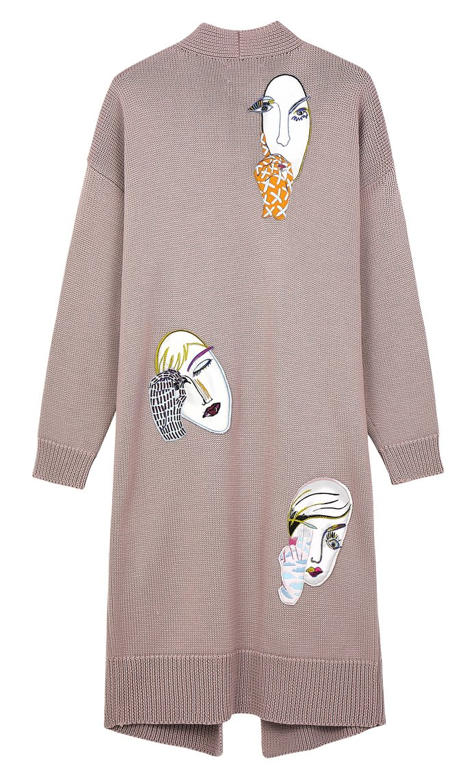 <p>EMBROIDERED FACES CARDIGAN</p>