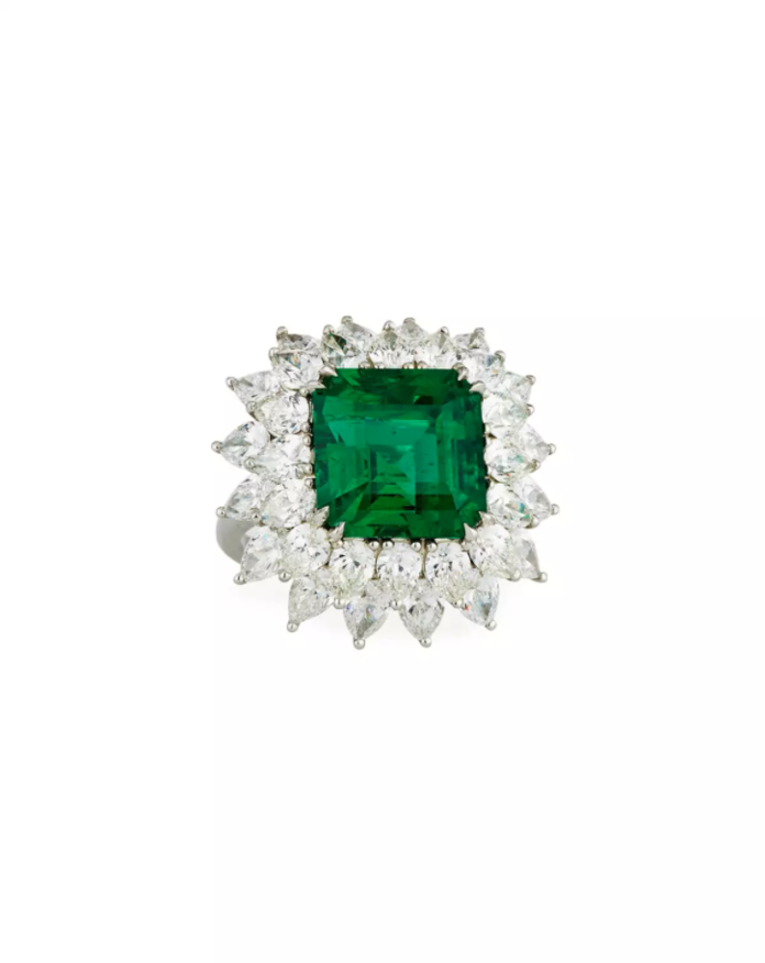 Bayco Zambian Emerald & Diamond Ring in Platinum