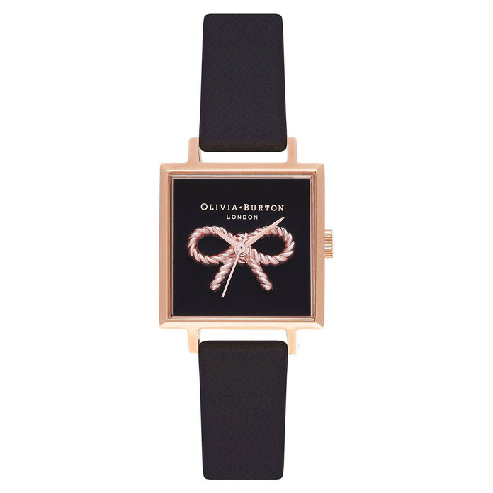 Olivia Burton Vintage Bow Square Leather Strap Watch