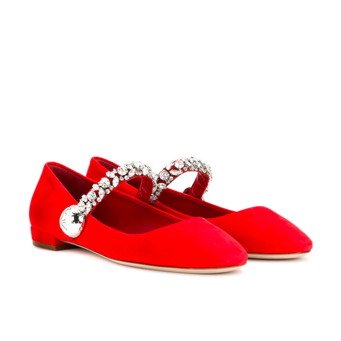 Miu Miu Suede Mary Janes with crystal embellishments