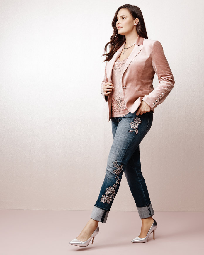 <p>The Luxe Blazer and Embellished Jeans</p>