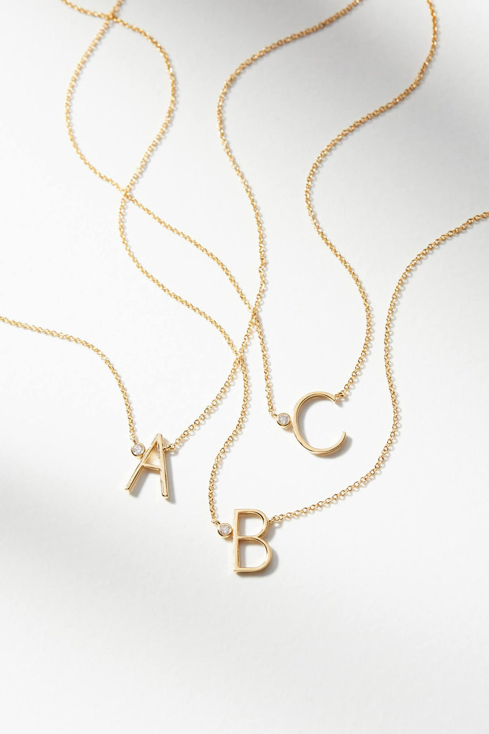 Anthropologie Delicate Monogram Necklace
