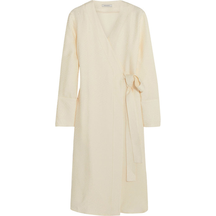 <p>Satin-Jacquard Wrap Dress</p>