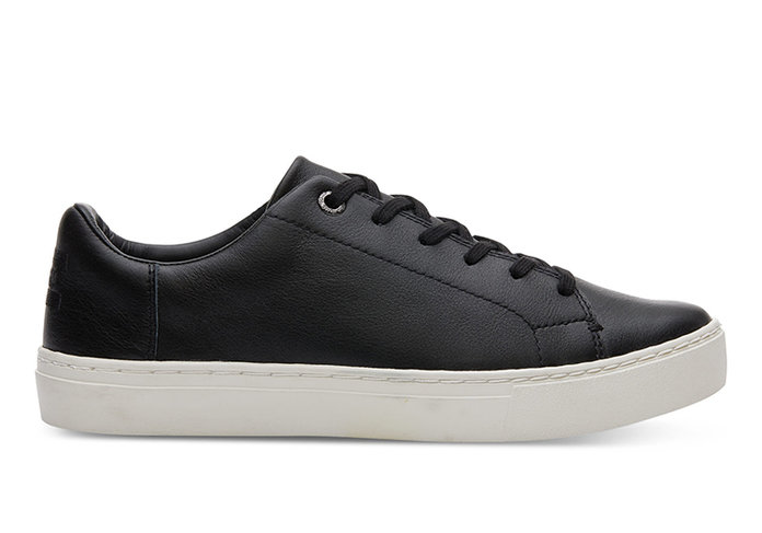 TOMS BLACK LEATHER WOMEN'S LENOX SNEAKERS