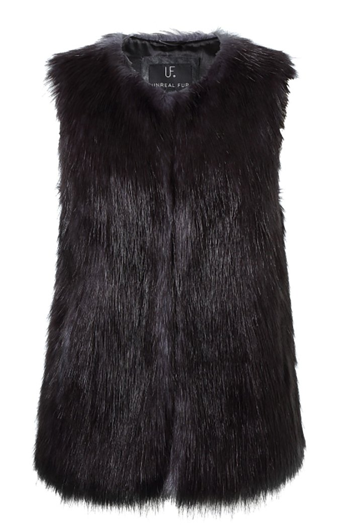 a faux fur vest to wear over (or under) your coat by Unreal Fur