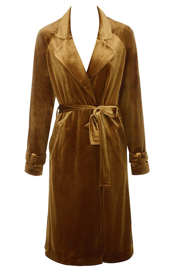 A trenchcoat in the season's hottest textile,velvet, by House of CB