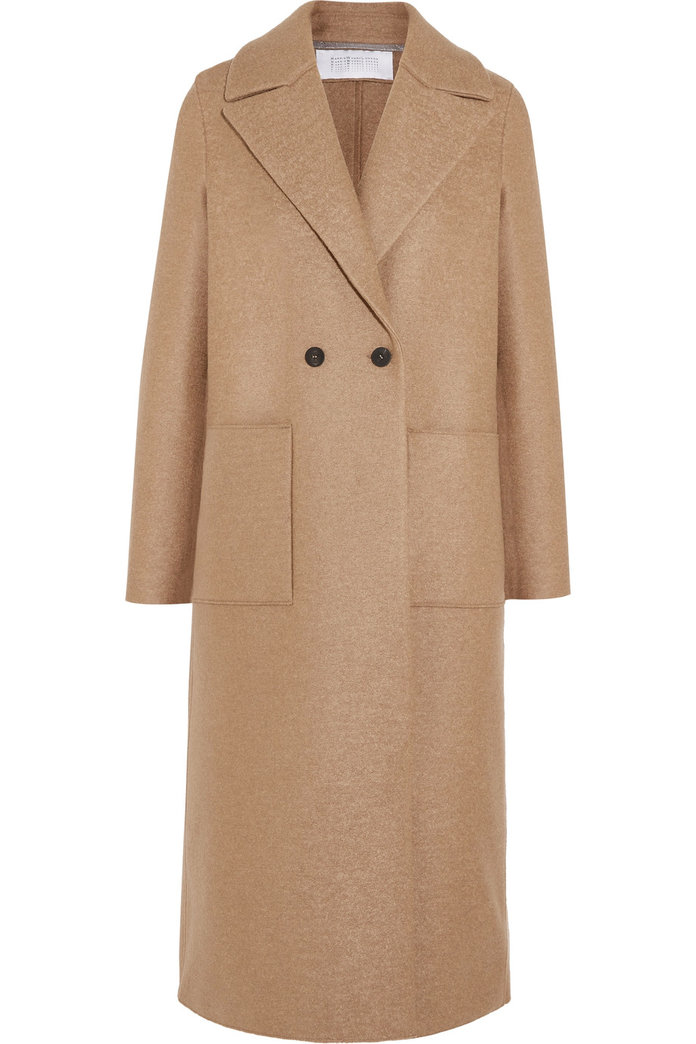 <p>A classic camel coat for the minimalist by Harris Wharf London</p>