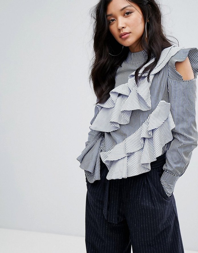 Boohoo Stripe Cold Shoulder Ruffle Detail Blouse
