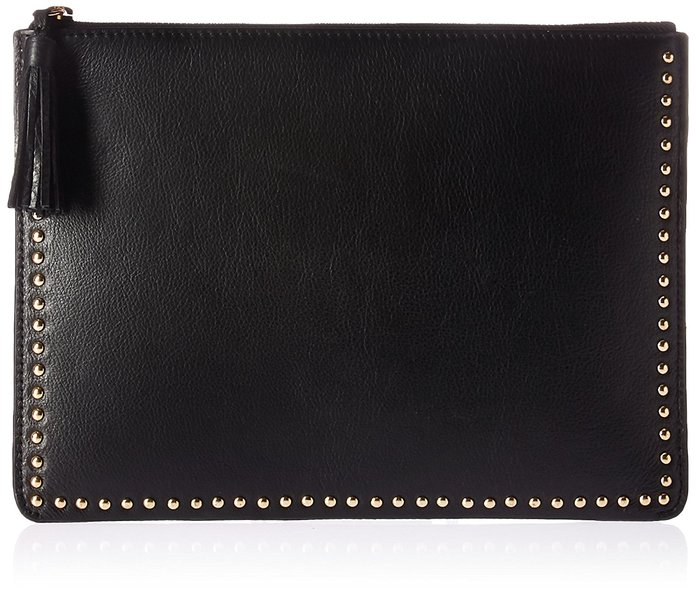 The Fix Cora Studded Leather Flat Clutch with Tasseled Zipper