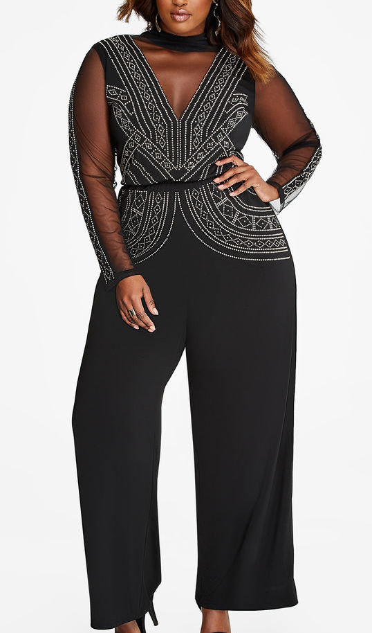 <p>Embellished front jumpsuit by Ashley Stewart</p>