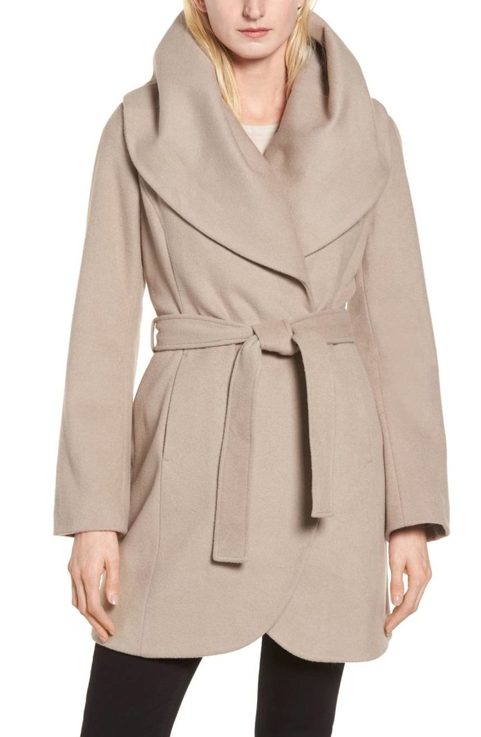 <p>Wool Blend Belted Wrap Coat</p>