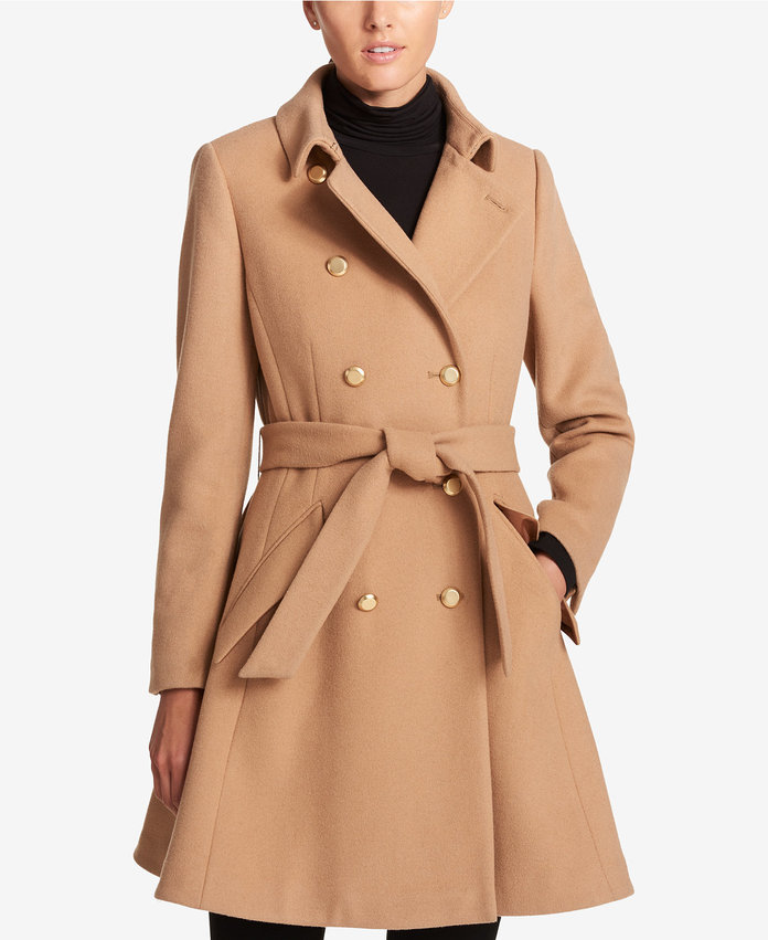 <p>Double-Breasted Fit & Flare Peacoat</p>