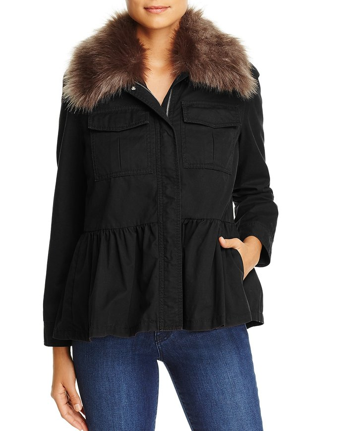 <p>Faux-Fur Collar Military Peplum Jacket</p>