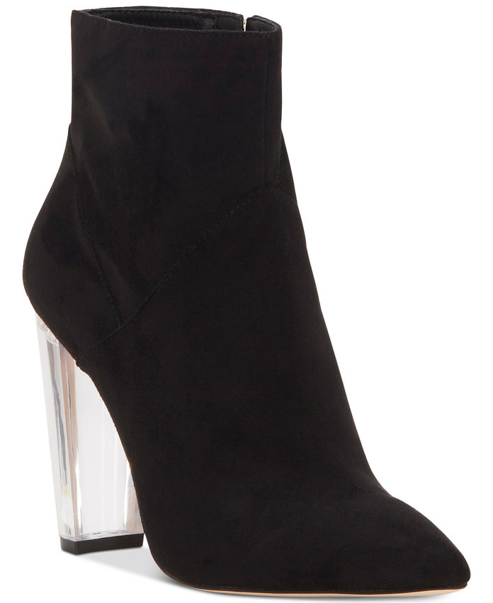 <p>Lucite Heeled Booties by Jessica Simpson</p>