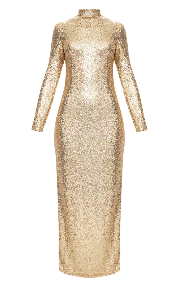 <p>Gold Sequin High-Neck Dress</p>