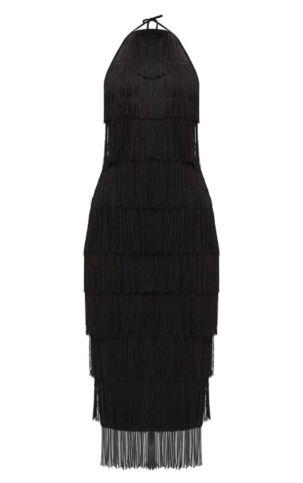 <p>Black Tassel Dress</p>