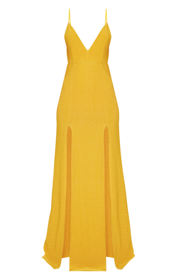 <p>Yellow Strappy Plunge Dress</p>