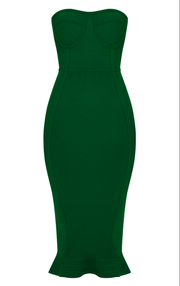 Emerald Green Frill Hem Dress
