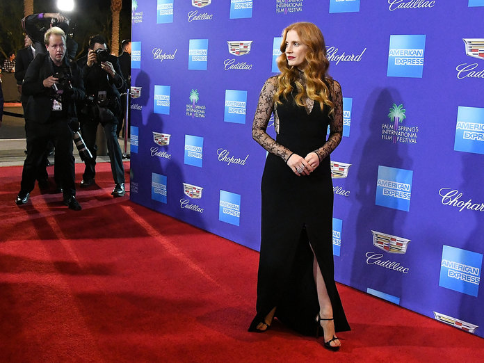 Jessica Chastain Takes the Plunge in Black Lace Gown at the Palm Springs Film Festival