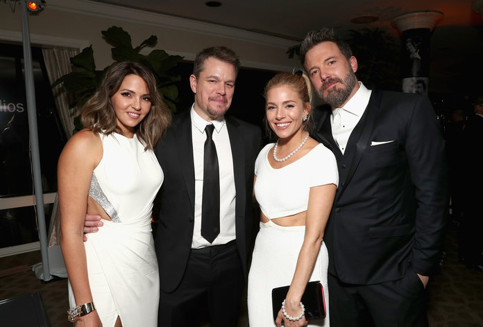 <p>Luciana and Matt Damon, Sienna Miller, and Ben Affleck</p>