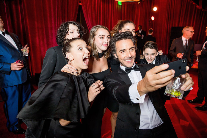 Millie Bobby Brown, Finn Wolfhard, Shawn Levy, and Noah Schnapp