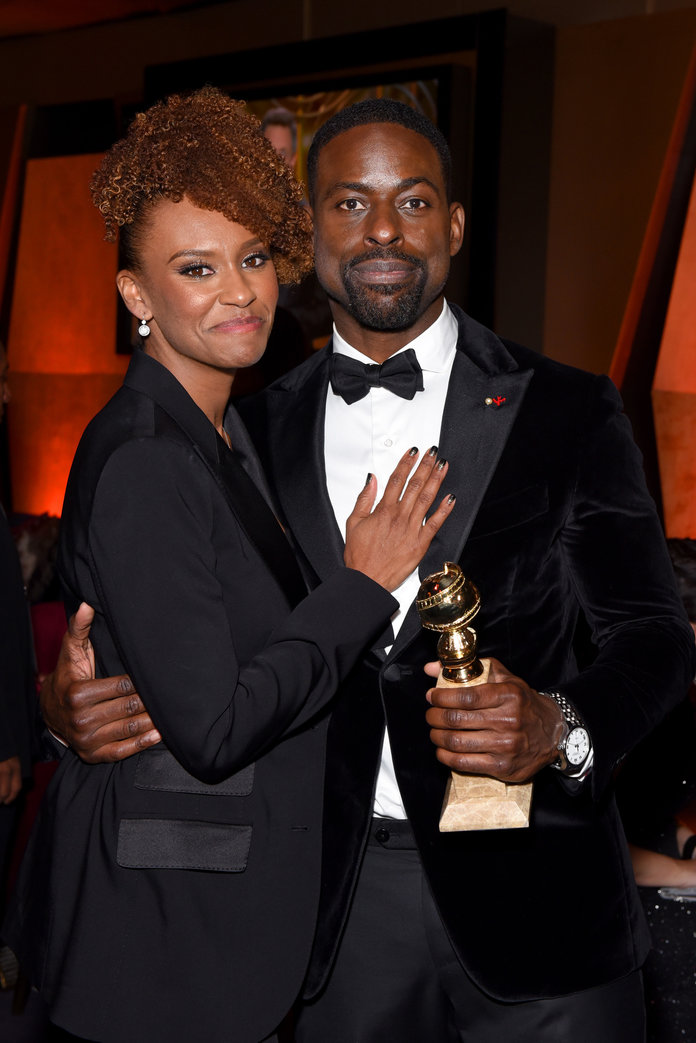 <p>Ryan Michelle Bathe and Sterling K. Brown</p>
