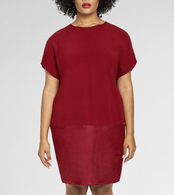 red mixed media t-shirt dress