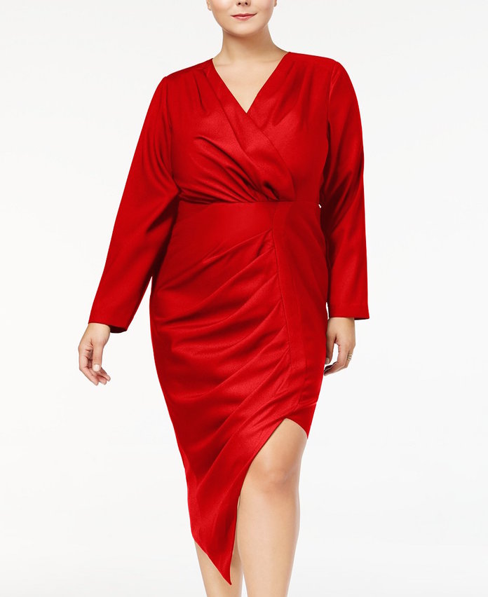 red faux wrap dress with thigh slit