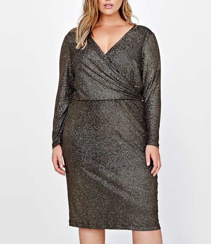 gold lurex faux wrap dress