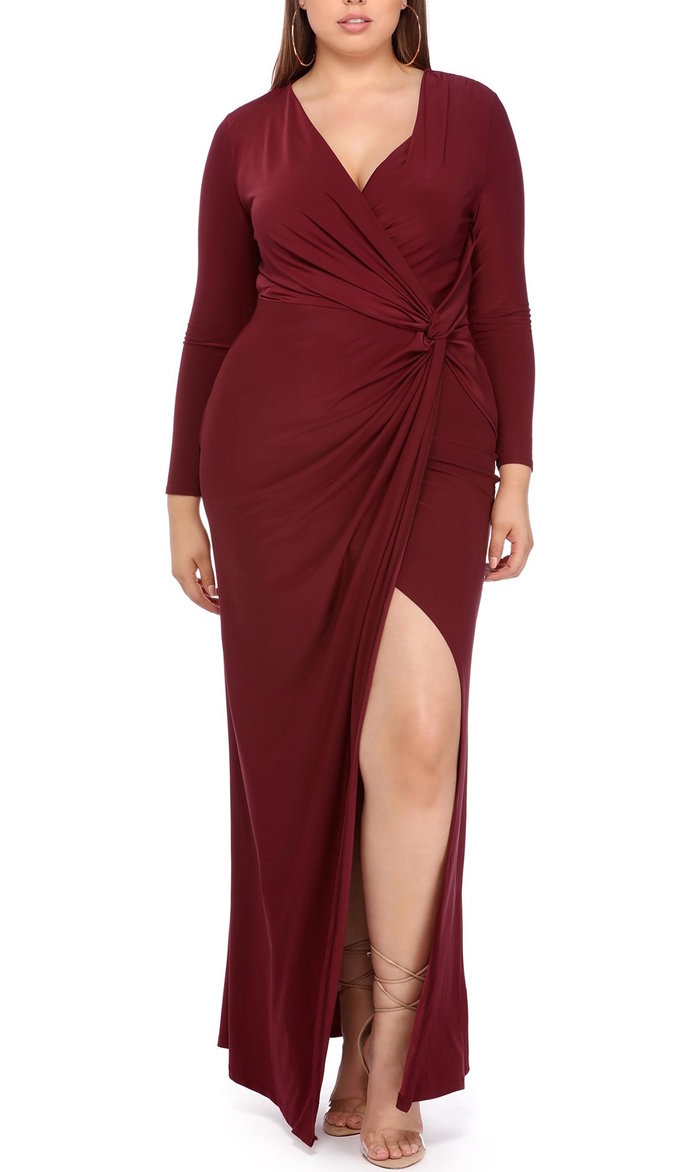burgundy maxi dress with long sleeves and high slit