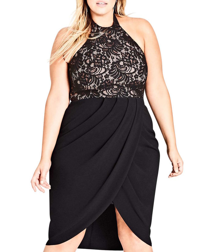 black halter dress with lace bodice