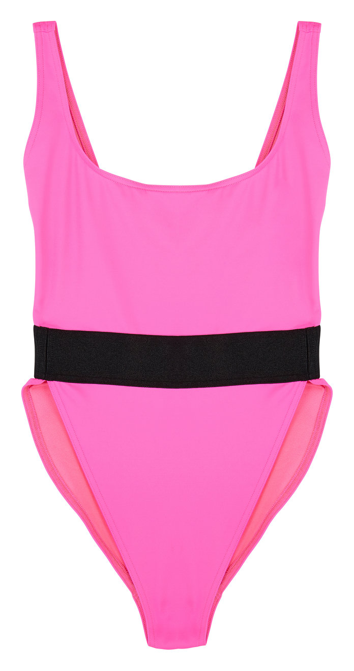 hot pink one-piece swimsuit