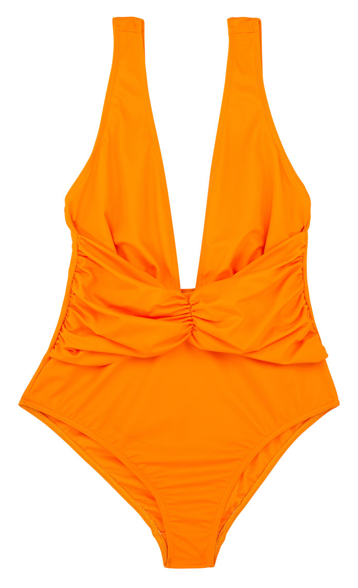 orange deep plunge one-piece swimsuit
