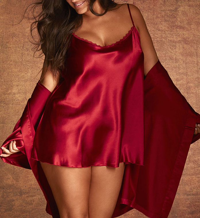 red silky slip and robe