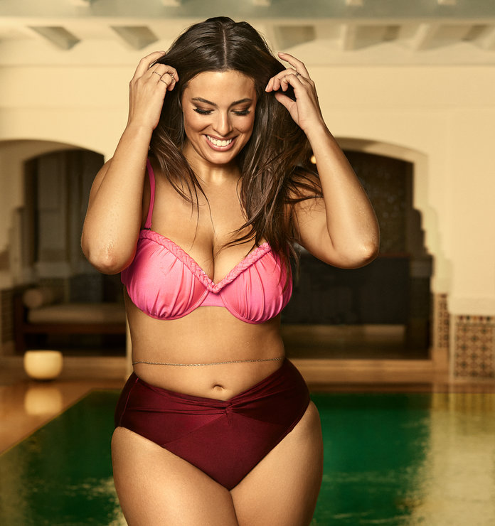 ashley graham pink and burgundy bikini