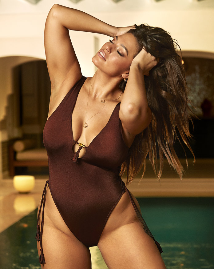 ashley graham brown one piece