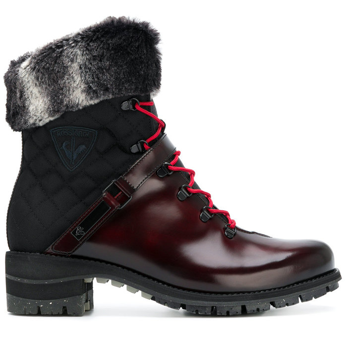 LACE-UP FUR TRIM BOOTS. WATERPROOF QUILTED SNOW BOOTS f2073fae1