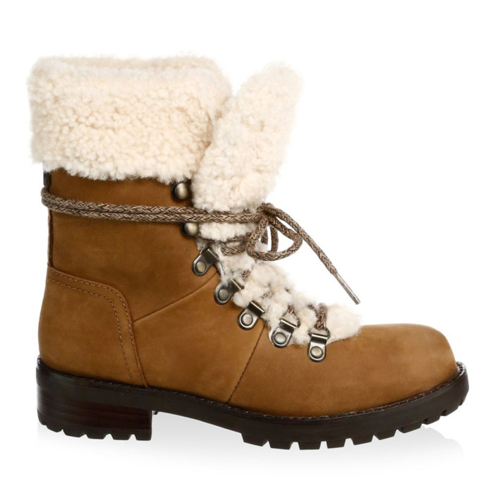 <p>SHEARLING COMBAT BOOTIES</p>