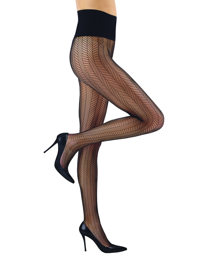 patterned black tights