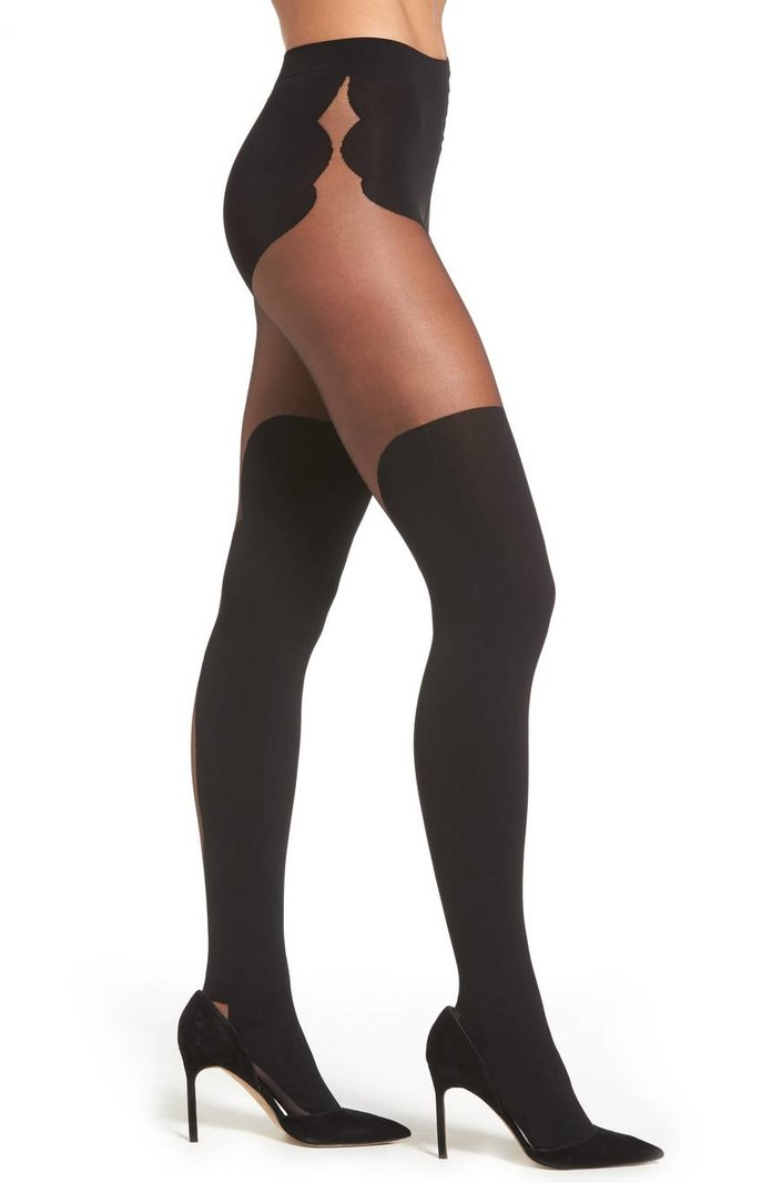 black illusion garter tights