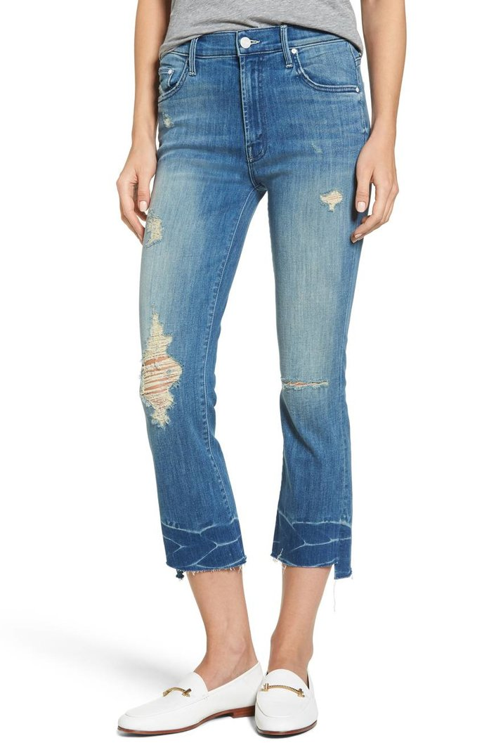 The Insider Frayed Step Hem Crop Jeans