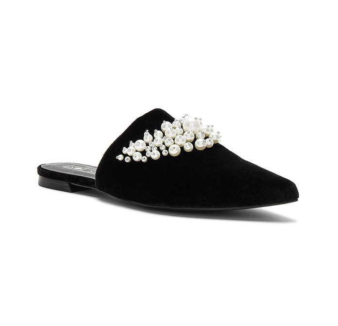 black embellished mules