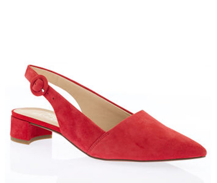 red slingbacks