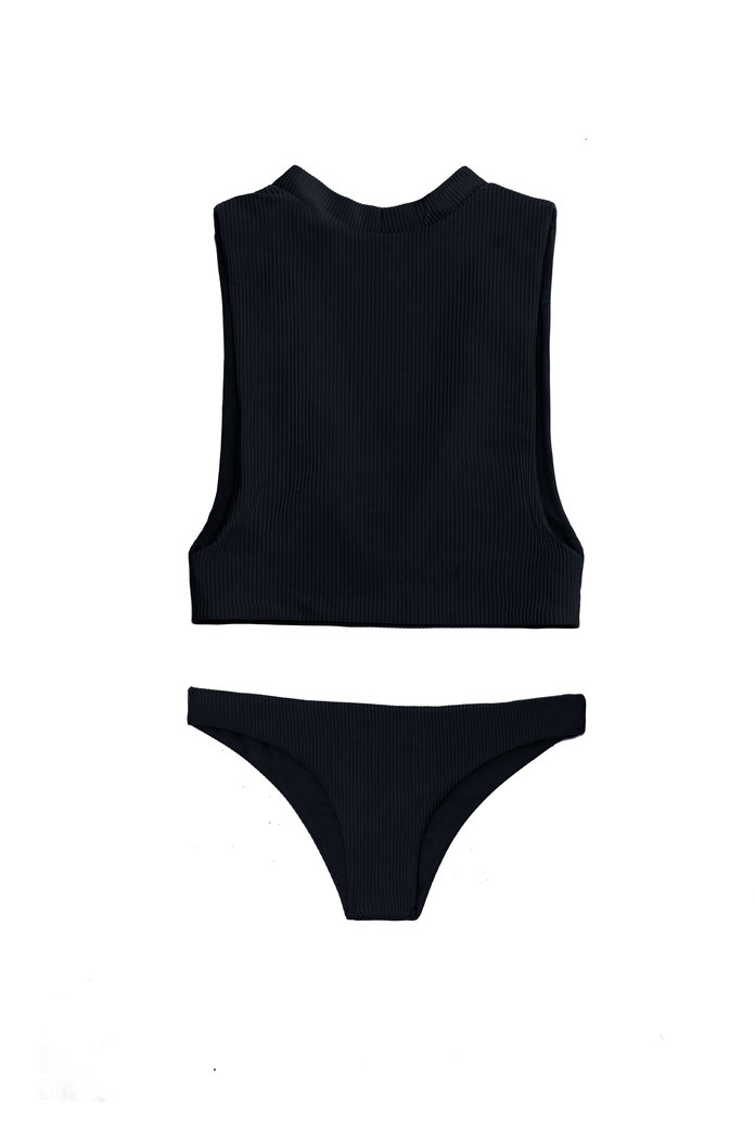 black high neck bikini