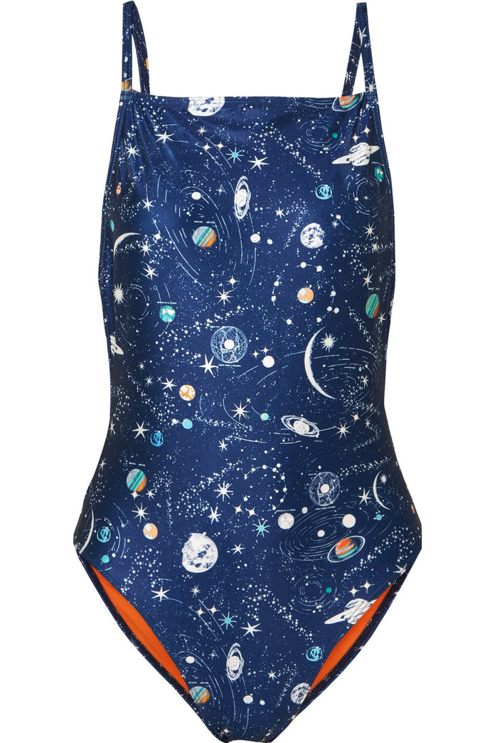 printed navy swimsuit