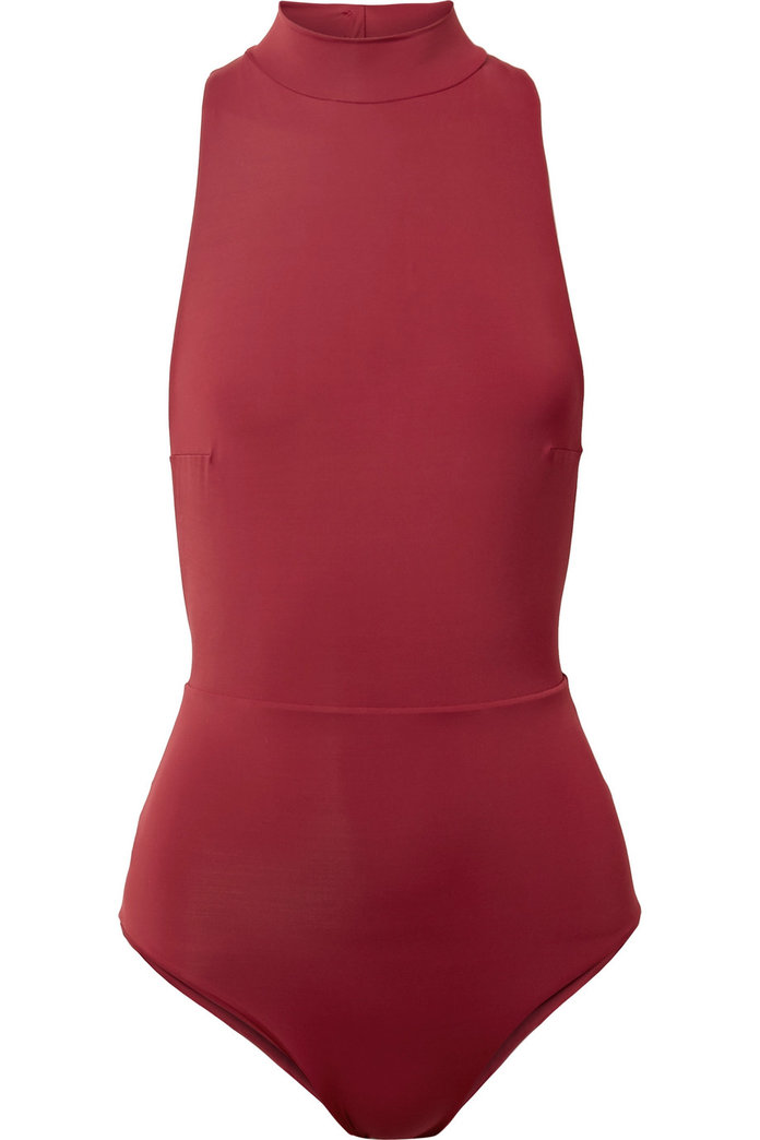 red high neck swimsuit