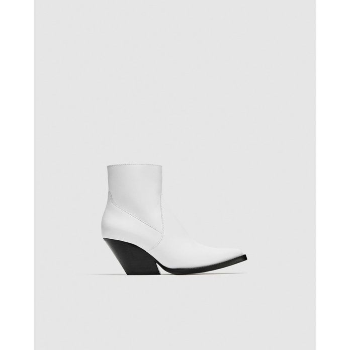 White Leather Cowboy Ankle Boot