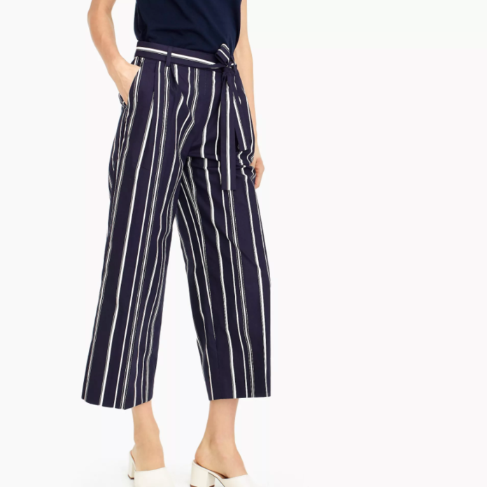 Wide-leg cropped pant in stripe