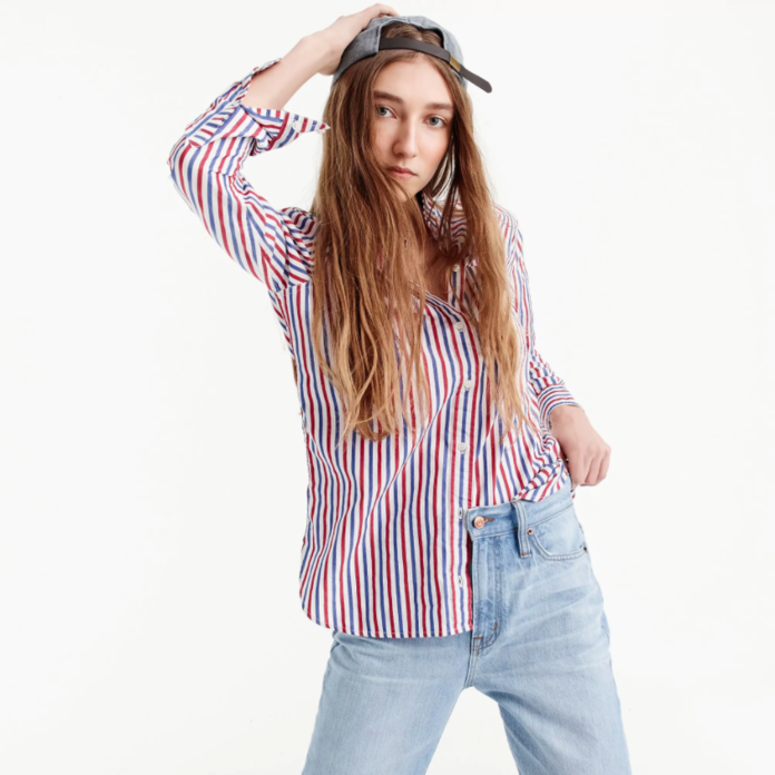 Classic-fit boy shirt in red-and-blue stripe