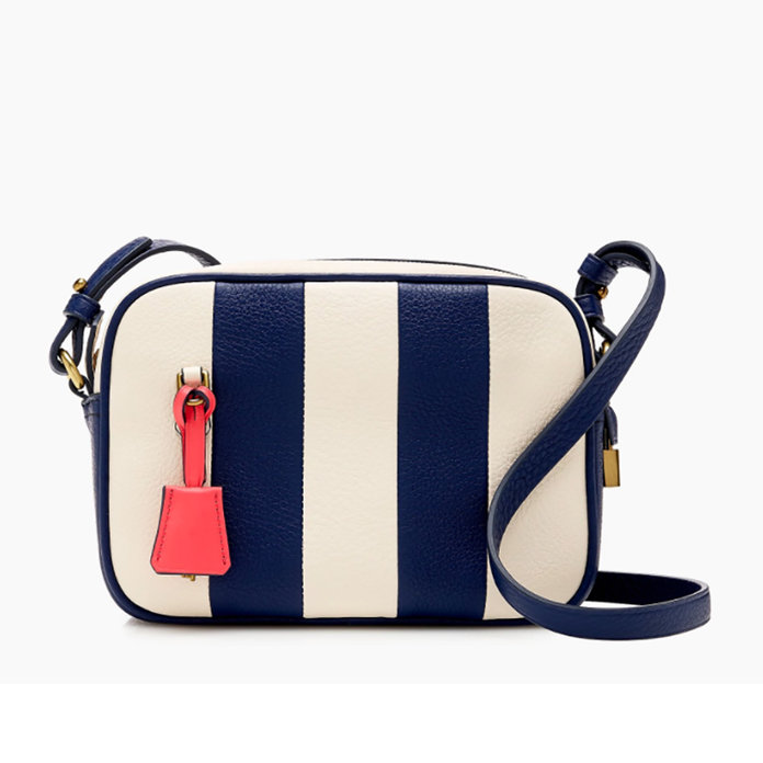 Signet bag in striped Italian leather
